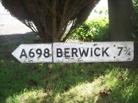 Large Vintage Road Sign, A698 Berwick. Borders. Interesting Provenance