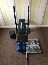 york weight bench with weights and dumb bell set also