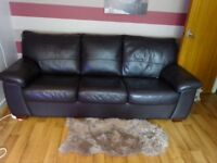 Leather Settee with King Size Sofa Bed