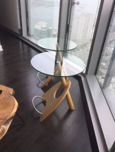 2 glass/wood end tables