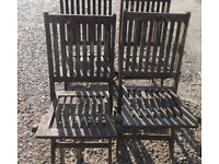 Set of four hardwood folding garden / patio chairs [can deliver]