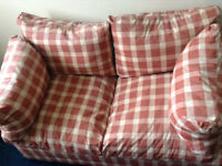 Terracotta and Cream Chequered Sofa Bed