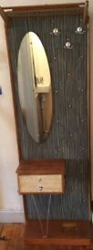Vintage coat stand with hooks and mirror and drawer