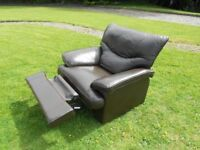 Chunky Dark Brown Leather Recliner Armchair