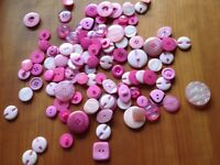 Assorted shades of pink , 115 buttons