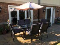 Garden Table, 6 Chairs & Parasol