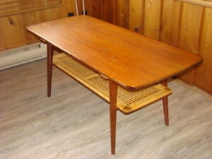 Teak Surfboard Coffee Table by Casala with Cane Wrapped Shelf