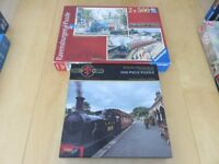 3 x 500 piece railway theme jigsaws (one box contains two separate jigsaws) excellent condition