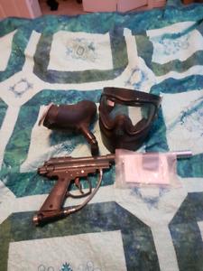 paintball gun and mask