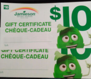 Jamieson Health Products $20 gift certificates for $10 save half