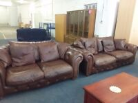 Leather suite brown soft leather 3 plus 2