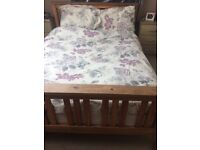 Solid pine double bed frame and 4 drawer chest