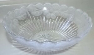 Crystal Glass Large Bowl Frosted Flower Poppy Poppies Floral