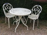 Pretty Cream Metal Table & 2 Chairs