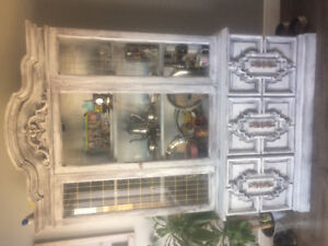 White distressed china cabinet