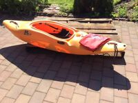 Excellent condition white water kayak suitable for taller paddler 6ft plus includes boyancy bags .