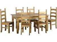 Corona Pine Table & X 6 Chairs