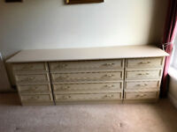 Bedroom suite comprising 2 X 4 drawer chests and 1 X 3 drawer chest.