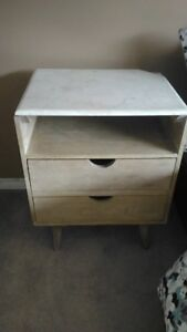 Distressed Solid Wood and Marble End Table (Homesense)