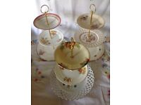 Vintage china and pottery cake stands x 3 job lot. Shabby chic.