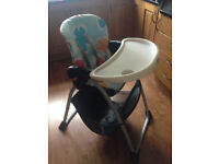 High Chair - Chicco Happy Snack, storage underneath, adjustable tray and chair