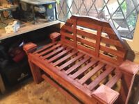 Chunky garden bench and table hand made from oak