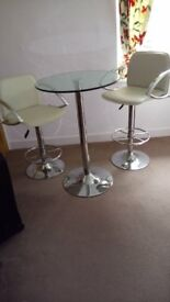 Glass table and 2 stools
