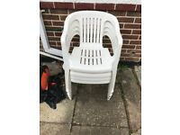 Plastic Patio Chairs x4