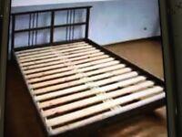 RYKENE IKEA DOUBLE BED FRAME WITH MATTRESS