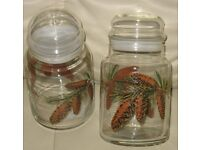 Pair - GLASS STORAGE JARS/CANINSTERS, Brand new with tag, Libbeys USA clear glass, pretty pine cones