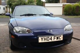 Mazda MX5 1.6l Mark 2.5, 2004, blue. 61250 miles. MOT till July 2018.