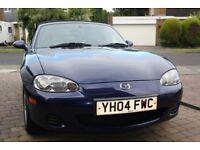 Mazda MX5 1.6l Mark 2.5, 2004, blue. 61250 miles. MOT till July 2018.