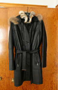 Rabbit Lined Leather Coat from Danier, Like New