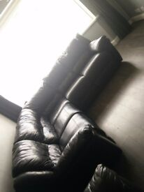 Black leather corner sofa and 2 seater