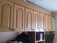 Kitchen wall cupboards Oak x 12