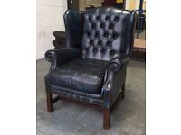 George 3rd Style Wing Back Armchair in Luxury real Navy Blue Leather