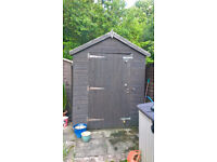 Used apex roof garden shed Approx 6' x 16' in good condition
