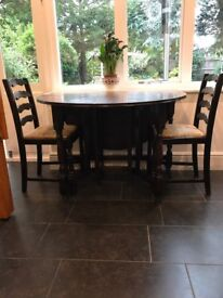 Dining Table and 2 Chairs - Table folds down on both sides