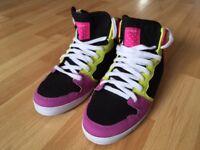 NEW Circa Women's Slim 99 Vulc Skate Shoes (hightop) pink/black/lime