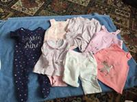 7 ITEMS OF BABY GIRLS CLOTHING. AGE 0-3 MONTHS.