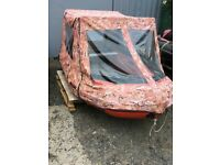 Rib aluminium floor with 15hp outboard. Comes with canopy foot pump anchor and rope
