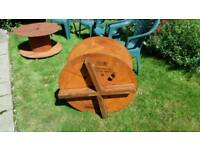4 Garden Chairs (free) and 2 Cable Drum Tables