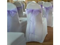 90 WHITE STRETCH CHAIR COVERS FOR SALE