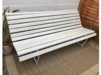 Large Antique White Garden Bench