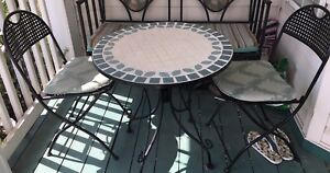 3 pcs bistro set mosaic tile top table & 2 chairs