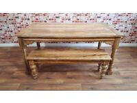 Extendable Rustic Farmhouse Dining Table Natural Hardwood Finish with Turned Leg Fruitwood Bench