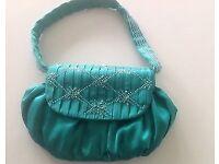 Emerald Green Satin, Beaded Handbag from Coast