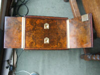 Antique collectors cabinet, drawers, chest, humidor box. Burr Walnut, Lock & Key working.