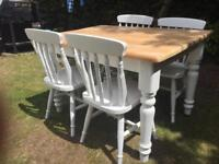 Gorgeous 4ft Shabby Chic Chunky Farmhouse Pine Table and 4 Lovely Chairs