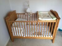 Adjustable Cot bed and mattress (Baby Weavers, in pine)
